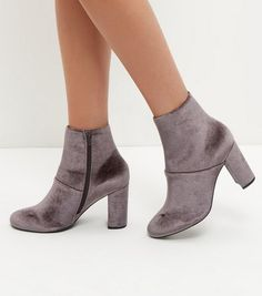 Wide Fit Grey Velvet Block Heel Ankle Boots. Wide Fit ShoesPointed ...