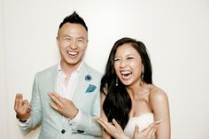 Wedding photo booth picture of me having a great laugh with the newlywed bride.  Details of the outfit: Suit: Garrison Bespoke linen Lapel flower: Hook + Albert Pocket Round: Garrison Bespoke Bracelets: Roxx Jewels Watch: Daniel Wellington Shirt: Brooks Brothers Red Fleece
