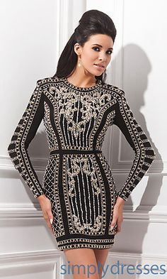 Short Tony Bowls Dress with Long Sleeves at SimplyDresses.com