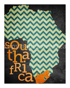 Need one for Lesotho and Zambia- to hang side by side in the master.... or maybe this one, since that's where we met.....south africa an art print on metallic paper by SweetTeaShoppe, $12.00