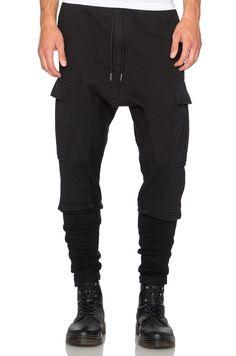 NLST Ribbed Cargo Pants in Black