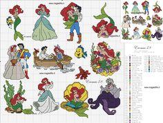 Disney Cross Stitch Patterns, Cross Stitch For Kids, Mini Cross Stitch, Cross Stitch Rose, Cross Stitch Charts, Cross Stitch Designs, Cross Stitching, Cross Stitch Embroidery, Mermaid Cross Stitch