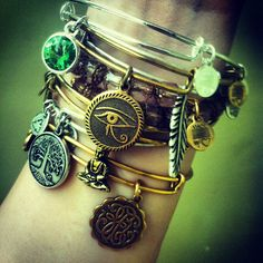 Alex and Ani arm party - bracelet stack