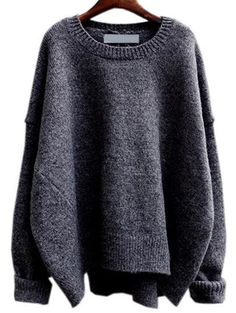 Grey Round Neck Split Loose Sweater