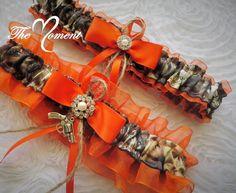 Orange and Mossy Oak Camo Garter set