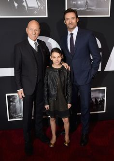 Sir Patrick Stewart, Dafne Keen and Hugh Jackman at the New York premiere of Logan.