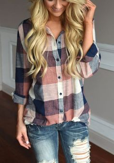 Khaki Plaid Single Breasted Pockets Turndown Collar Casual Blouse