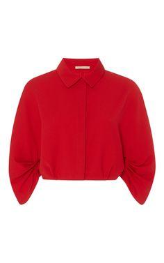 Medium emilia wickstead red dana ruffle sleeve shirt