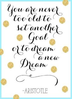 You are never too old to set another Goal and Dream another Dream. ~ Aristotle.