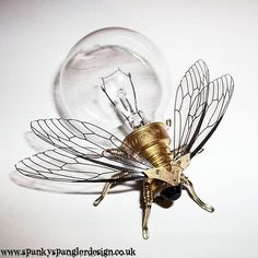 Steampunk brooch - Large Fly Lightbulb Brooch - OOAK Unique Steampunk Steam Punk Clockwork Jewelry from spankyspanglerdesign on Etsy. Saved to Just plain. Steampunk Kunst, Mode Steampunk, Style Steampunk, Steampunk Design, Steampunk Fashion, Steampunk Wings, Steampunk Artwork, Steampunk Crafts, Steampunk Gadgets