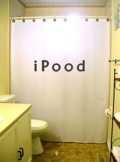 iPood Shower Curtain funny toilet humor bathroom decor kids bath novelty unique via Etsy