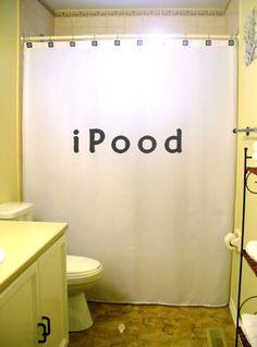 iPood Shower Curtain funny toilet humor bathroom decor kids bath novelty unique via Etsy
