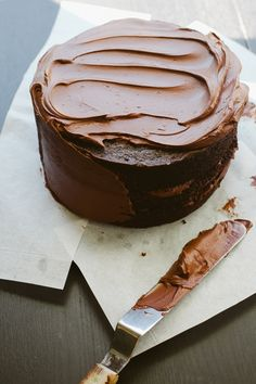 Chocolate Cake with Bittersweet Sour Cream Frosting - Simply Recipes