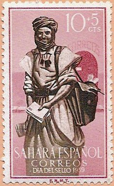 Sello Sáhara Español, Día del Sello 1959 - Portal Fuenterrebollo Old Stamps, Vintage Stamps, African History, Stamp Collecting, World Cultures, Art History, Vivid Colors, Spanish, Old Things
