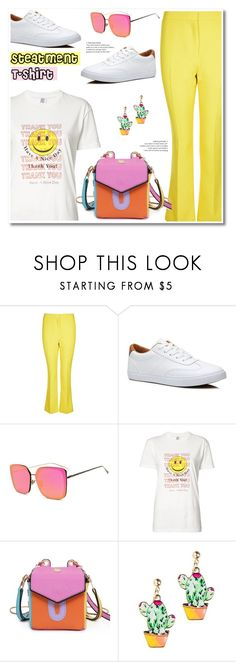 """""""Slogan T-shirt"""" by paculi ❤ liked on Polyvore featuring Topshop and Rosie Assoulin"""