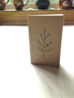 Small Notebook: Blank Journal, Tree, Black, Notebook, Small, Brown, Kraft, Jotter, Mini Journal, Small Notebook, Stamped, Unique