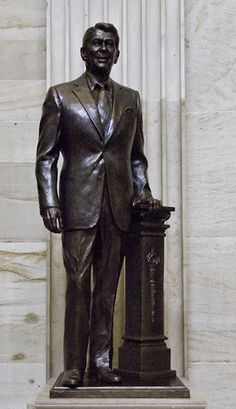 Bronze statue of former President Ronald Reagan in the Capitol Rotunda