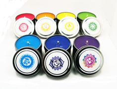 MINI CHAKRA CANDLES Set - Seven 2 oz Candle Tins with Sanskrit Chakra Symbols - 7 Chakras Eastern Meditation Yoga Healing Energy Work