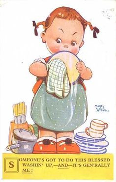"""""""Someone's got to do this blessed washin' up ...."""" Vintage Postcard Illustration by Mabel Lucie Attwell ...."""