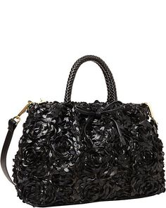Betsey Johnson LEATHER AND LACE Satchel BLK ROSE Appliques, BRAIDED WHIP handles #BetseyJohnson #Satchel