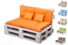 Made of Codura type fabric. Easy to remove fur .We can offer you high quality products, which will serve you longer than one season.Material will not be discoloured and cushions will not rip off, for more than one season. Garden Seat Cushions, Pallet Cushions, Garden Sofa, Cushions On Sofa, Sofa Bed, 1001 Palettes, Decoration Palette, Sofas