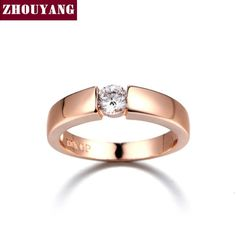 ZHOUYANG 4.5mm Hearts and Arrows AAA  CZ Wedding Ring Rose Gold & White Gold Plated Classical Finger Ring R400 R406