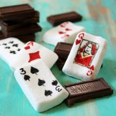 marshmallow poker candy playing cards