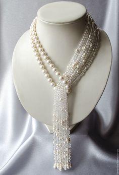 "Necklace-tie of pearl with rock crystal ""Waterfall"" Perlen Quaste Halskette mit Bergkristall Wasserfall Bead Jewellery, Pearl Jewelry, Beaded Jewelry, Jewelery, Handmade Jewelry, Jewelry Necklaces, Handmade Beads, Fashion Jewellery, Ethnic Jewelry"