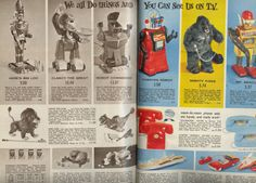 Sears Xmas catalog Pt.5: With all the cool stuff available in the '65 Sears Xmas catalog, Christmas was truly exciting!  Little did we know it was merely a warm-up for 1966--in which the proverbial toy dam burst and some of the most incredible toys of all-time were featured.