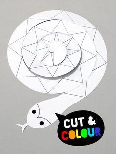Para practicar recortando y coloreando // Cutting skills : Cut + colour spiral paper snake