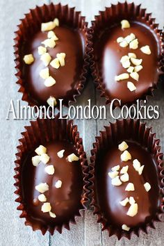 Almond London cookies are very popular in Malaysia. They're roasted almond in crunchy milky cookie, coated with delicious chocolate and top off with almond nibs. Cereal Recipes, Sweets Recipes, Cookie Recipes, Homemade Cookies, Yummy Cookies, Delicious Chocolate, Almond Chocolate, Old Fashioned Butter Cake Recipe, Chicolate Chip Cookies
