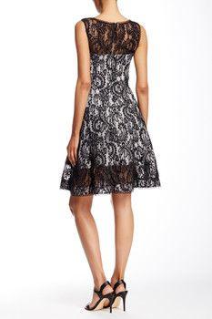 Tadashi Shoji Bonded Lace Fit & Flare Dress
