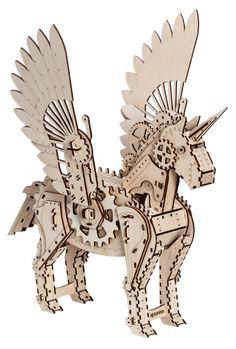 Mr.Playwood - Mechanical Unicorn #Plywoodkits #lasercut #3d #Puzzle #DIY #Toys Laser Art, 3d Laser, Laser Cut Wood, Laser Cutting, Dinosaur Puzzles, 3d Puzzles, Wooden Puzzles, Cnc, Plywood Art