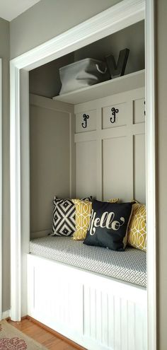 Splendid Turn a Closet into a mudroom for an updated look with more function. This also makes your home appear larger! How to fake a mudroom. The post Turn a Closet into a mudroom for an updat . Hallway Closet, Front Closet, Closet Mudroom, Closet Doors, Closet Bench, Entryway Stairs, Shoe Storage Bench With Doors, Hallway Tree Bench, Closet Into Office