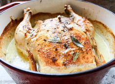 The thought of roasted chicken in milk may not sound appetizing but it will produce amazingly moist and tender chicken. Jamie Oliver's recipe is very easy.