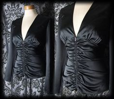 Gothic Black Satin MAYHEM Fitted Corset Panel Blouse 10 12 Victorian Governess