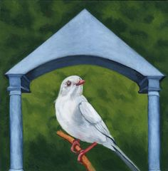 RK Ives Original Oil Painting : Albino Tanager, Bird #Realism