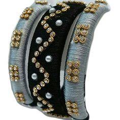 Act Designer Silk Thread Bangles Black & White Colour, A Set of 3 Bangles (Size : Silk Thread Bangles Design, Silk Thread Necklace, Silk Bangles, Beaded Necklace Patterns, Bridal Bangles, Thread Jewellery, Fabric Jewelry, Jewelry Patterns, Diy Jewellery