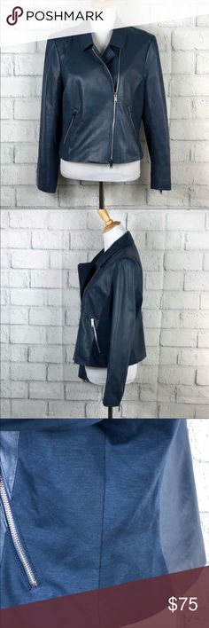 EUC Navy 100% lambskin leather jacket Worn one time for a few min. Excellent condition. Measurements are in the photos. Super bummed that this didn't fit me. My loss is your gain DKNYC Jackets & Coats
