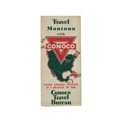 Vintage Conoco Montana Travel Map