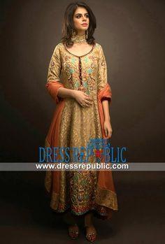 Antiqui Gold Jamawar Dress With Sweet-heart Neck And Orange Dupatta