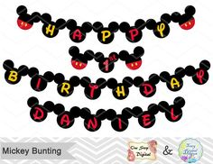 Printable Mickey Bunting, Printable Mickey Banner, Mickey Mouse Birthday Party Banner Instant Download, Mickey Birthday Party Banner, 0018