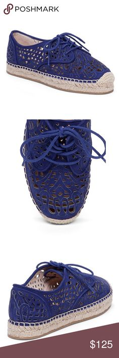 Vince Camuto Espadrilles Gorgeous laser cut Vince Camuto Espadrilles. Sizing: True to size. Round cap toe. Allover laser-cut detail. Lace-up vamp closure. Braided jute wrapped midsole. Materials: Leather upper, manmade sole. Color: Blue. Brand new in box. Vince Camuto Shoes Espadrilles