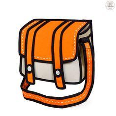 Comic Cartoon 2 D Shoulder Messenger Bag Orange