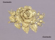 Diamond Brooch in the form of a rose, from the House of Nassau-Weilburg. Gold, platinum and diamonds . Made c. 1859 in Frankfurt by Kakob Spelttz. Now part of the collection of the Grand Duke of Luxembourg.