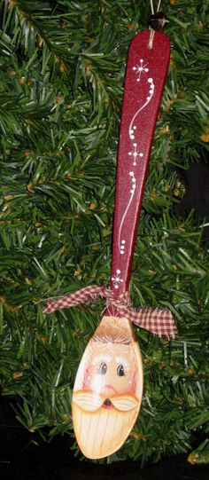Santa wooden spoon hand painted by KathysKountry on Etsy Santa wooden spoon hand painted by KathysKountry on Etsy Rustic Christmas Crafts, Primitive Christmas, Diy Christmas Ornaments, Christmas Projects, Christmas Fun, Holiday Crafts, Christmas Decorations, Wooden Spoon Crafts, Wooden Spoons