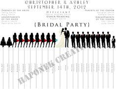 Fun Wedding Program Party Silhouette Template Programs Ceremony