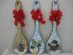 Colheres em madeira para decor de natal em temas diferentes, pintura country.