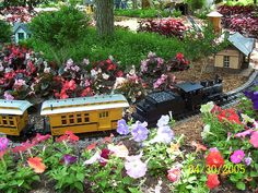 This is a model train set that is designed to run throught the backyard of this house. Garden Railroad, Design Your Dream House, Model Trains, Toy Trains, Magical Creatures, Deco, Scale Models, Backdrops, New Homes