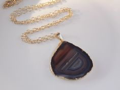 Agate Necklace on Gold Filled Chain: agate slice by MalieCreations